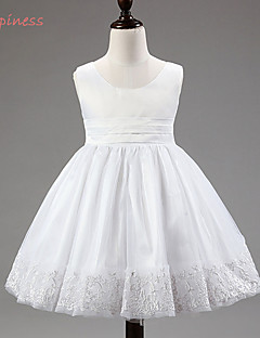 Girl's Summer/Spring/Fall Micro-elastic Medium Sleeveless Dresses (Cotton Blends/Mesh/Polyester/Satin)