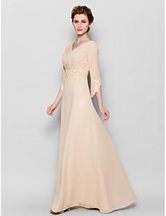 Sukienka dla matki panny młodej - Pearl Różowy 3/4 Długość rękawa Szyfon - Płaszcz / Kolumna Floor-length