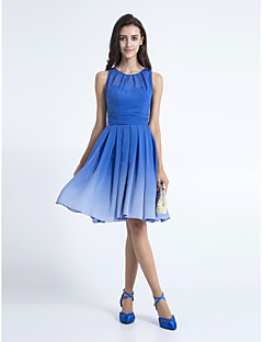 Knee-length Chiffon Bridesmaid Dress - Royal Blue Plus Sizes / Petite A-line Scoop