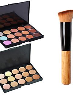 2stk 15colors contour ansikt pulver speil makeup palett + 1stk pudder børste