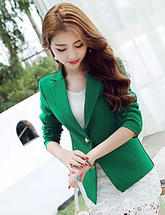 Akryl Polyester Blå Grønn Medium Langermet,V-hals Blazer Ensfarget Høst Sexy Søt Ut på byen Arbeid Dame