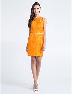 Lanting Knee-length Lace Bridesmaid Dress - Orange Plus Sizes / Petite Sheath/Column Jewel