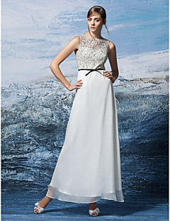 Formal Evening Dress - Multi-color Plus Sizes / Petite A-line Jewel Ankle-length Chiffon / Lace