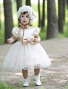 Flower Girl Dress Knee-length Tulle Ball Gown Short Sleeve Dress(not include cap)