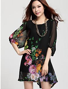 여성 캐주얼 플러스 무릎 드레스 위의 마이크로 탄성 길이 슬리브 (쉬폰) 크기