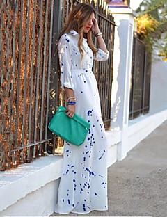 Mulheres Vestido Solto Casual Estampado Maxi Colarinho de Camisa Misto de Algodão