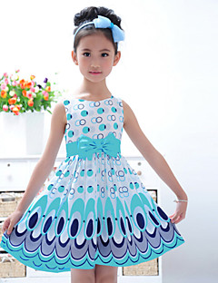Girl's Going out Print Dress,Cotton Blend Summer / Winter / Fall / Spring Blue / Pink