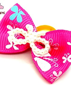 FUN OF PETS® Lovely Ribbon Style Pearl Decorated Rubber Band Hair Bow for Pet Dogs  (Random Color)