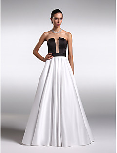 Formal Evening Dress A-line Strapless Floor-length Satin