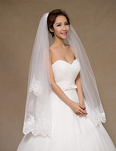 Two-tier - Lace Applique Edge - Angel cut/Waterfall - Elbow Veils ( Ivory , Embroidery )