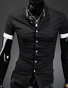 Men's Solid Casual / Work / Formal Shirt,Polyester Short Sleeve Black / White
