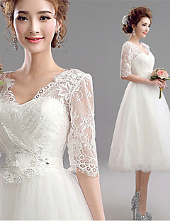 A-line Tea-length Wedding Dress - V-neck Tulle