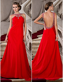 Formal Evening Dress - Ruby Plus Sizes A-line/Princess Jewel Court Train Chiffon