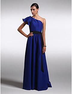 Vestito da damigella - Royal Blue Tubino Monospalla A Terra Chiffon/Raso