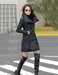 Mulheres Casaco Trench Plus Sizes / Vintage Inverno,Sólido / Patchwork Bege / Preto / Verde Colarinho de Camisa / Colarinho Chinês-Manga
