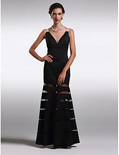 저녁 정장파티 드레스 - 블랙 시스/컬럼 발목 길이 V넥 사틴