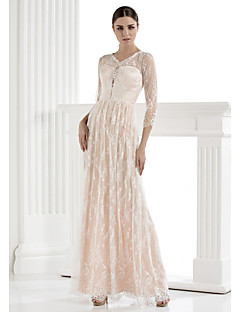 Lanting Sheath/Column Wedding Dress - Ivory Floor-length V-neck Lace