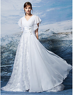 A-line Wedding Dress - White Sweep/Brush Train V-neck Chiffon