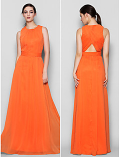 Floor-length Chiffon Bridesmaid Dress - Orange Plus Sizes / Petite A-line Jewel