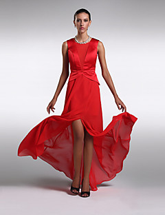Formal Evening Dress - Ruby Plus Sizes / Petite Sheath/Column Scoop Floor-length Chiffon / Satin