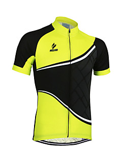 ARSUXEO® Cycling Jersey Men's Short Sleeve Bike Breathable / Quick Dry / Anatomic Design / Front Zipper / Reflective Trim/Fluorescence