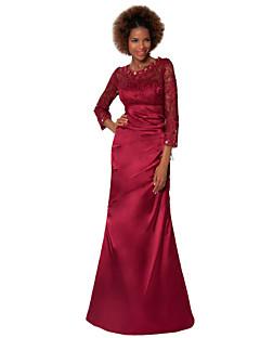 Vestido Para Mãe dos Noivos - Vinho Tubo/Coluna Longo Renda/Cetim