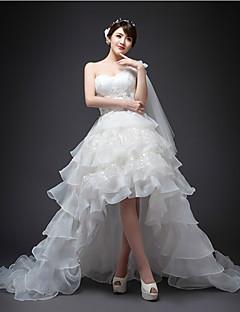 A-linje Asymmetrisk Brudekjole - Hvid En Skulder Organza