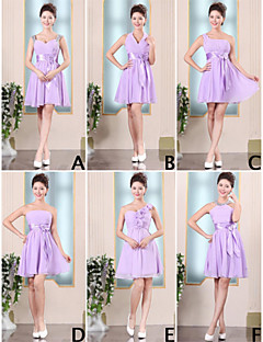 Short / Mini Chiffon Bridesmaid Dress - Lace-up A-line One Shoulder with Ruffles