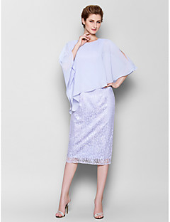 Lanting Sheath/Column Plus Sizes / Petite Mother of the Bride Dress - Sky Blue Knee-length 3/4 Length Sleeve Chiffon / Lace