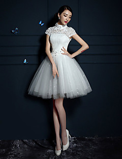 A-line Wedding Dress Short / Mini High Neck Tulle with