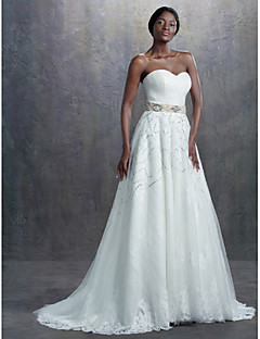 A-line Wedding Dress - Ivory Sweep/Brush Train Sweetheart Lace