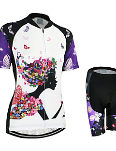 Arsuxeo Cycling Jersey with Shorts Women's Short Sleeve Bike Breathable Quick Dry Anatomic Design Back Pocket 3D Pad YKK ZipperJersey +