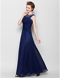 Sheath/Column Mother of the Bride Dress - Dark Navy Floor-length Sleeveless Chiffon
