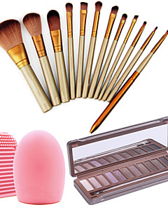12pcs Professional Cosmetic Makeup Brushes Set +New In Box 12Colors Neutral Eyeshadow Palette+1PCS Brush Cleaning Tool