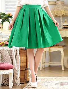 Women's Solid Black/Green Skirts , Casual Above Knee Ruched