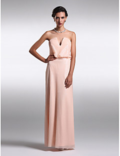 Formal Evening Dress - Pearl Pink Plus Sizes / Petite Sheath/Column Strapless / V-neck Floor-length Sequined