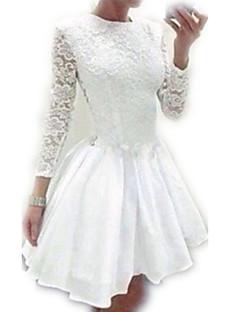 Lace / Patineuse Robe Femme Soirée / Cocktail / Grandes Tailles Sexy / Mignon,Couleur Pleine Col Ras du Cou Mini Manches Longues Blanc