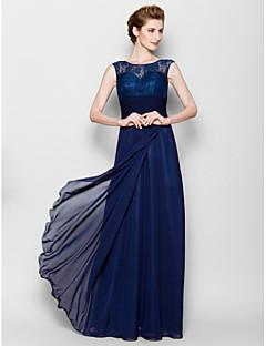 Sheath/Column Mother of the Bride Dress - Dark Navy Floor-length Sleeveless Chiffon/Lace