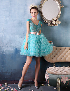 Cocktail Party Dress - Sky Blue Ball Gown V-neck Short/Mini Lace/Organza/Charmeuse