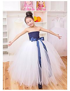 Performance Dresses Children's Performance Polyester Pleated 1 Piece Black / Blue / White Performance Sleeveless Waist Belt / Dress