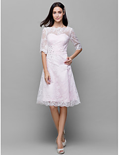 Lanting Bride® Knee-length Lace / Satin Bridesmaid Dress A-line Bateau with Beading / Lace