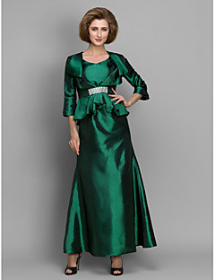 A-line Mother of the Bride Dress - Dark Green Ankle-length 3/4 Length Sleeve Taffeta