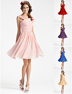 Knee-length Georgette Bridesmaid Dress - Pearl Pink / Royal Blue / Ruby / Champagne / Grape Plus Sizes / Petite A-line / Princess V-neck