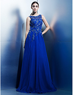 TS Couture® Formal Evening Dress - Royal Blue A-line Scoop Floor-length Chiffon
