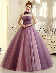 Formal Evening Dress - Purple Ball Gown High Neck Floor-length Tulle