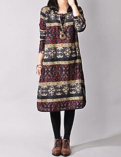 Robe Aux femmes Ample Grandes Tailles / Vintage / Décontracté / Mignon , Fleur / Imprimé Col Arrondi Mi-long Coton / Lin