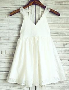 Φόρεμα για Κοριτσάκι Λουλουδιών Γραμμή Α Μέχρι το Γόνατο - Δαντέλα/Σατέν Αμάνικο