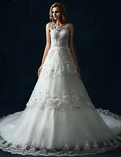웨딩 드레스 - 화이트 A 라인 성당 트레인 스쿱 튤
