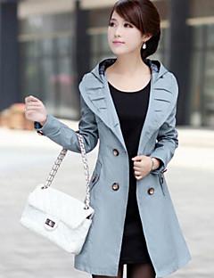 Blå Hvit Sort Tykk Langermet,Skjortekrage Trenchcoat Ensfarget VintageHøst Dame