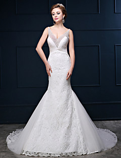 Trumpet/Mermaid Wedding Dress - White Court Train V-neck Lace/Tulle/Charmeuse